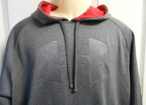 Under Armour Hoodie Men's Large EUC Charcoal Gray Red Hood Fleece Lined BARGAIN!