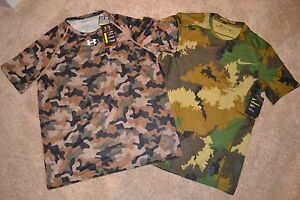Under Armour Nike Mens CAMO Compression Shirts (Lot of 2) Size M NWT $89.99 MSRP
