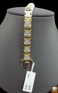 Real 10K Yellow Gold 9 Inch Men's Diamond Tennis BraceletUniquely Designed