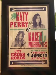KACEY MUSGRAVES & KATY PERRY *AUTOGRAPHED* Hatch Show Print CMT Crossroads