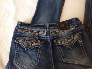 Miss Me Jeans Designer Bling Jeweled Size 32 Easy Boot Dark Distressed Wash Htf