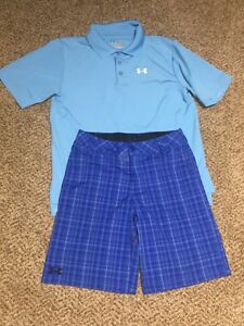 Boys Under Armour Blue Heatgear Polo Shirt Plaid Golf Shorts Outfit Youth Large