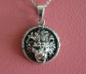 925 Sterling Silver Round Lion Head Pendant Necklace - Round Lion Necklace NEW