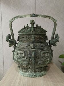 Rare Chinese bronze dragon design big wine vessel pot
