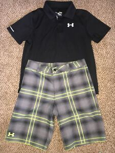 Boys Under Armour Black Heatgear Polo Shirt  Golf Lime Shorts Outfit Youth Large