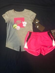 Nike Toddler Girls 2 Pc Outfit Set T- Shirt & Tempo Running Shorts Sz 4T NWT