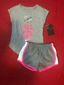 Nike Toddler Girl 2 Pc Outfit Set Tee Shirt & Dri-Fit Shorts Sz 4T
