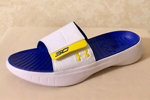 Men Under Armour SC Curry III Slides Sandals Steph Curry WhiteBlue 1287207 104