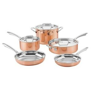 Cookware Set Lid 8 Piece Tri Ply Stainless Steel Suacepan Stock Pot Skillet Cook