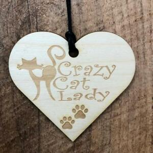 Crazy Cat Lady Wooden Hanging Heart Plaque Gift LPA3 17