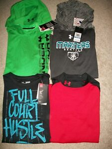 NWT LOT OF 4 BOYS SIZE YXL UNDER ARMOUR LOOSE FIT HOODIES LS SS TOPS MSRP $129