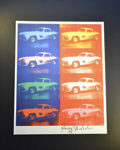 """Andy Warhol """"Cars"""" (Multiple White Mercedes-Benz 300 SL Coupes) Signed COA."""