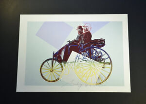 """Andy Warhol """"Cars"""" (Antique Car with Blue Background).  Hand SIgned w COA."""