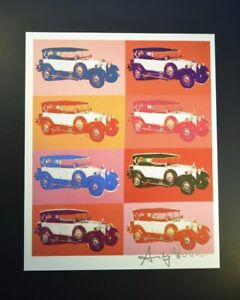 """Andy Warhol """"Cars"""" (Multiple Vintage White Cars) Hand SIgned by Warhol COA."""