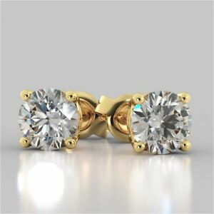 2ct Round Cut Diamond 14k Yellow Gold Finish Solitaire Stud Earrings for Women's