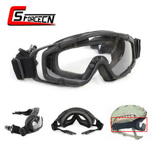 Tactical Airsoft Military Black Goggle Ballistic Glasses for Helmet wSide Rails