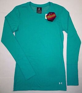 UNDER ARMOUR Womens ColdGear Infrared Fitted Shirt 1248574 Green Teal Aqueduct S