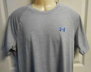 Under Armour Men's Large Gray Loose Fit Heat Gear Short Sleeve Shirt BARGAIN GUC