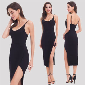 US Women Short Split Black Cocktail Party Dresses Club Dresses 07123 Ever-pretty