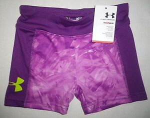 NWT UNDER ARMOUR Toddler Girls HeatGear Stretch Fitted Athletic Shorts Purple 3T