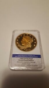 1849 Liberty Head Double Eagle proof replica gold layered Franklin Mint