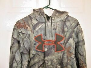 Men's Under Armour UA Mossy Oak Treestand Camo Big H Hoodie XL Loose EUC