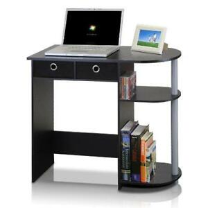 Computer Desk With Drawers & Open Storage Shelves Black Grey Wooden Laptop Table