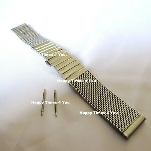 Solid Men's Mesh Stainless Steel Watch Band Strap Bracelet Movado Replacement