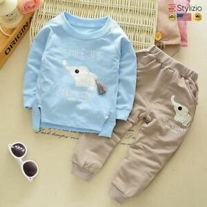 NEW Children Tracksuit For Boys Sport Suits Cute Elephant Long Sleeved T-Shirt T