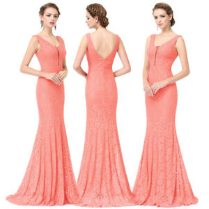 US Lace Formal Wedding Evening Cocktail Party Maxi Dress Mermaid Long Gown 08838