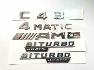 2018C43 4MATICAMGBITURBO Letters Trunk Embl Badge Sticker for Mercedes Benz