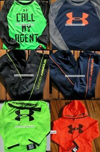 UNDER ARMOUR BOYS YOUTH SIZE 5 ~ HOODIE SWEATSHIRTS ~ TRACK PANTS - 6pc ~ NWT