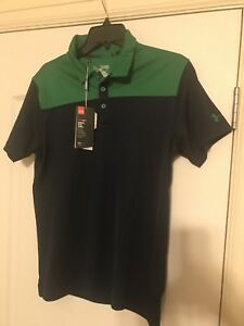 New Under Armour Golf Polo Shirt Size Youth  XL Green Navy Blue Retail $40