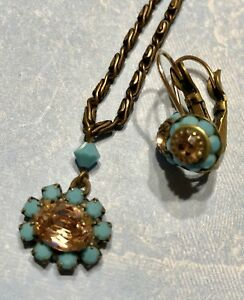 Liz Palacios SF Pink & Turquoise Crystal Brass Necklace & Earrings Set