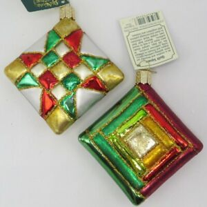 Old World Christmas Quilt Quilting Square Blown Glass Ornament 32149 $27.98