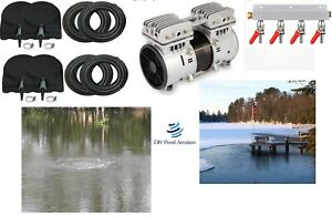 NEW 3 4hp Large POND Aeration Kit 2 Acres 400 SINK Tube 4 Diffusers 4way valve $1089.99