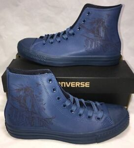 Converse Chuck Taylor ALL Star Hi Sneakers New York NYC Blue Leather 156465C