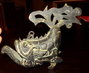 BRULEUR A ENCENS EN BRONZE DRAGON FISH 1400 AD CHINESE MING INCENSE BURNER