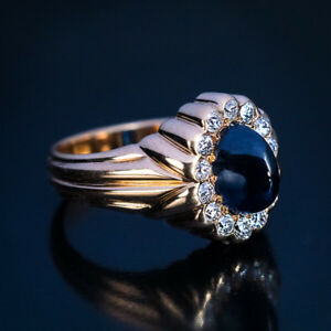 Antique Cabochon Sapphire Diamond Gold Ribbed Ring