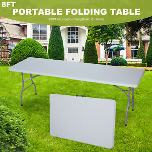 8' Plastic Centerfold Folding Table Portable Indoor Outdoor Picnic Camping Table