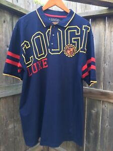 COOGI Luxe Sport Men's Short Sleeved 100% Cotton Polo Shirt Sz L Blue Yellow Red
