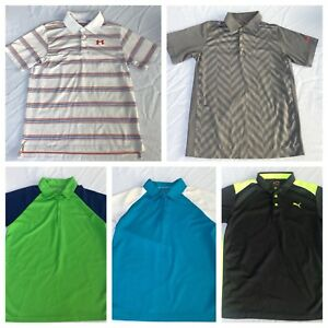 Lot of 5 Youth Boys Under Armour Nike PGA Polo Golf shirts Youth Large