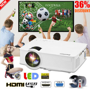 3D Portable LED Projector HD 1080P 7000Lumen HDMIUSBSDAV Home Cinema Video US