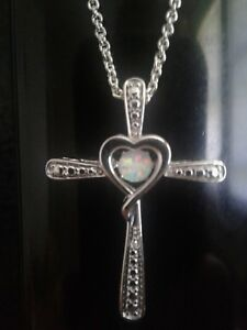 Love in Motion™ Lab-Created Opal and Diamond-Accent Cross Pendant Necklac