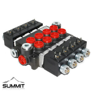 Hydraulic Monoblock Solenoid Directional Control Valve 4 Spool 13 GPM 12V DC