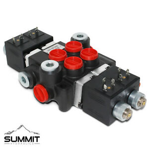 Hydraulic Monoblock Directional Solenoid Control Valve 2 Spool 13 GPM 12V DC