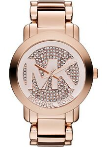 Michael Kors Women's MK Logo Glitz Cristal Face Rose Gold Bracelet Watch MK3463