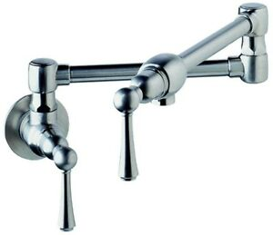 Stainless Steel Wall Mount double Jointed Swing Spout Pot Filler Kitchen Faucet