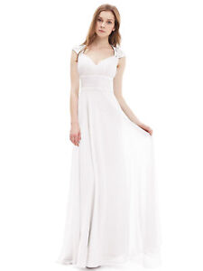 Ever-pretty US Long White Bridesmaid Wedding Dresses Cocktail Prom Gowns 09672