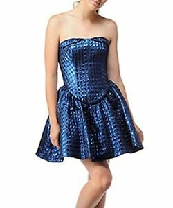 Betsey Johnson 80s Look Blue Metallic Short Cocktail Prom Dress size 4